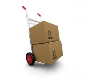 3D render of a hand truck with boxes